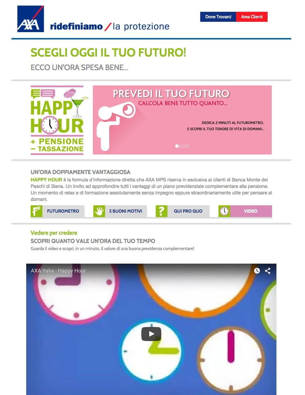 creatività AXA MPS sito Happy Hour